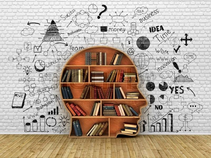 Wood Bookshelf In The Shape Of Human Head And Books Near Break Wall Jpg 800x600