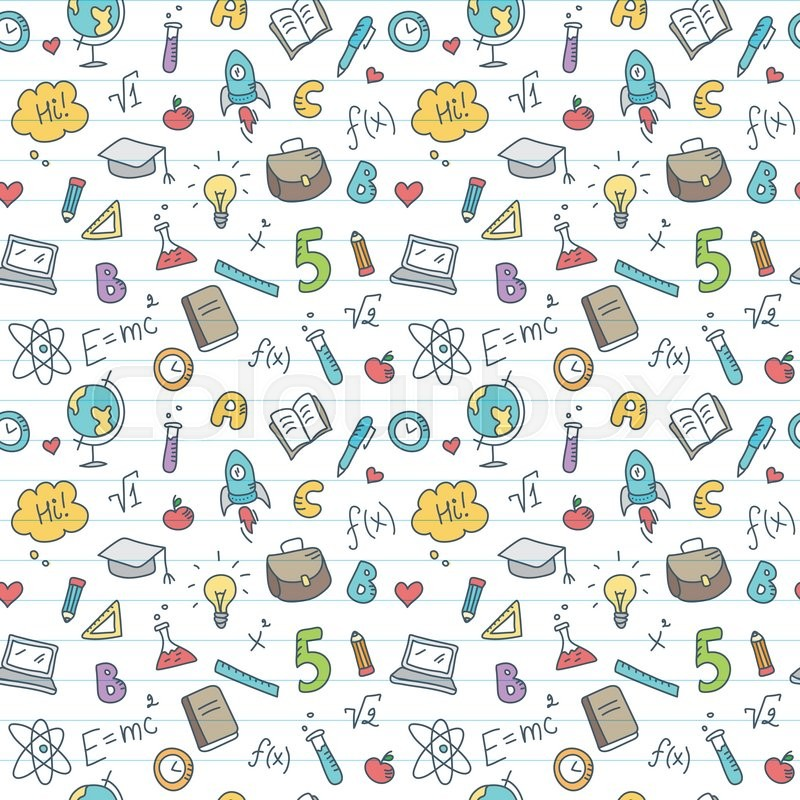 Vector Funny Hand Drawn School Accessories Seamless Pattern Cute Back To School Colorful