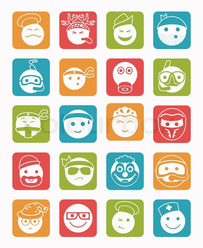 20 icons set profession smilies differents colors and emotions in square |  Stock Vector | Colourbox