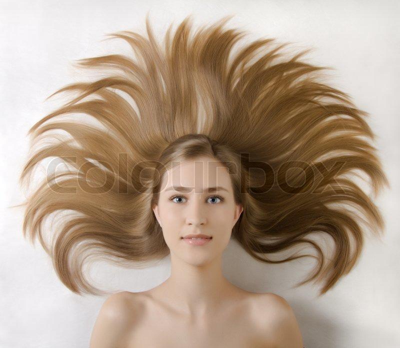 Madchen Portrat Frisur Um Kopf Stockfoto Colourbox