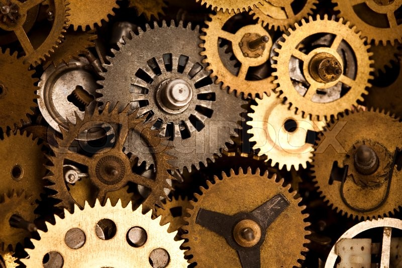 Gears Meshing Together Technic Concept Stock Photo