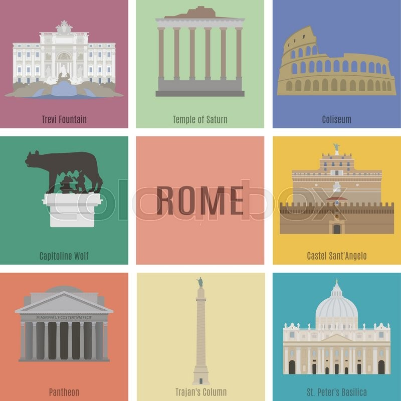Symbols Of Rome Trevi Fountain Temple Of Saturn Coliseum