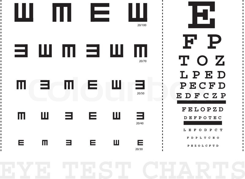 Vector Snellen Eye Test Charts For Children And Adults Stock