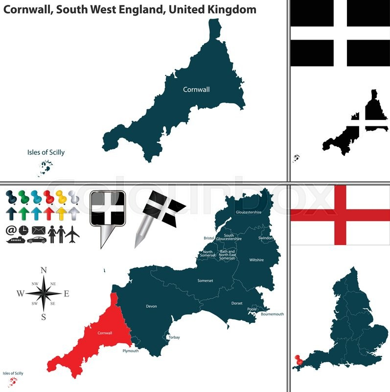 Map Of England Cornwall.Vector Map Of Cornwall In South West Stock Vector Colourbox