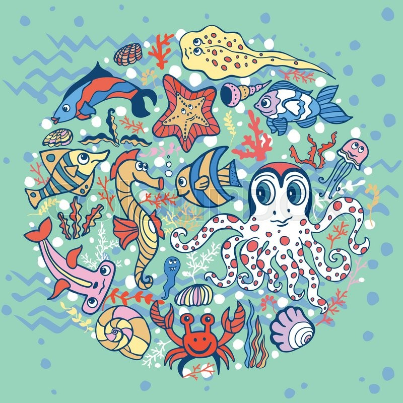 sea life animals circle set  fish and octopus  crab with seaweed vector images seaweed vector background