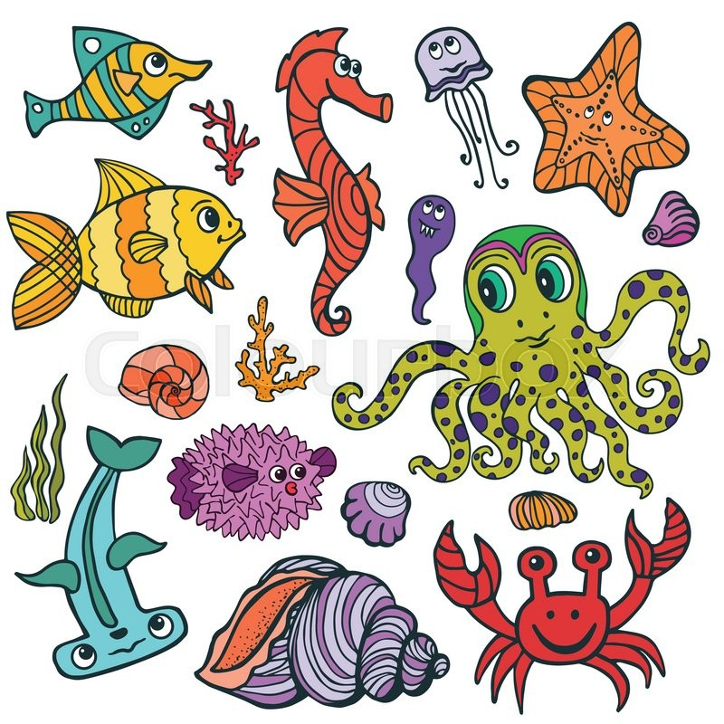 Lovely Sea Life Animals Set. Fish And Octopus, Crab, Seahorse With Coral,seaweed  And Shell. Funny Cartoon Doodle Underwater World. Baby Hand Drawing Vector  ...