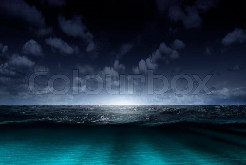 Night sea and sky with clouds. Concept, stock photo