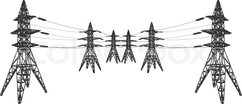 vector silhouette of power lines and electric pylons on