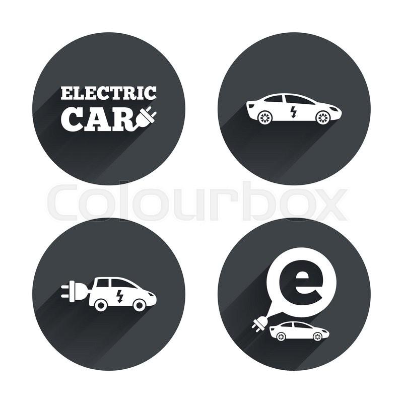Electric Car Icons Sedan And Hatchback Transport Symbols Eco Fuel