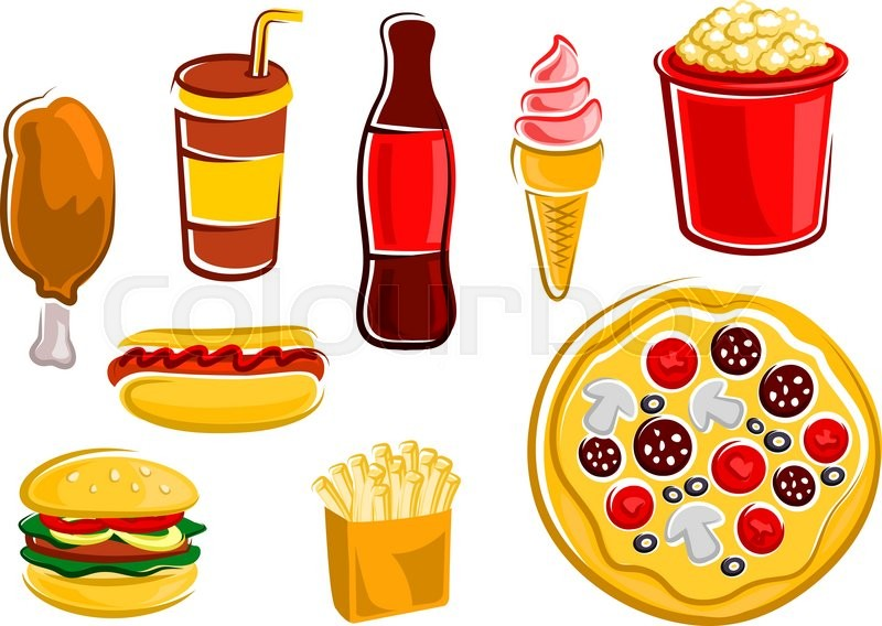 Stock Vector Of Fast Food French Fries Hamburger Hot Dog Fried Chicken
