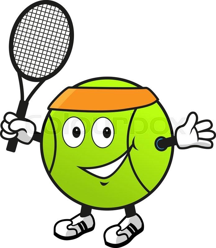 Cartoon Smiling Green Tennis Ball Character In Orange