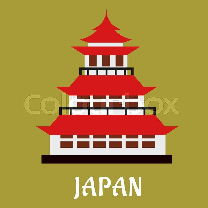 Japanese National Traditional Pagoda Stock Vector Colourbox