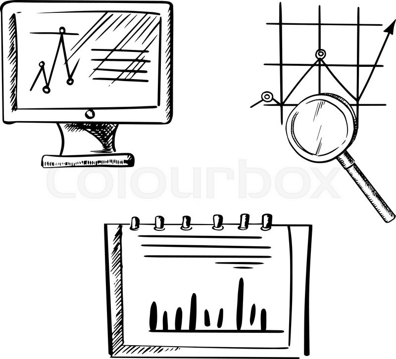 computer monitor with line chart  notebook with bar graph