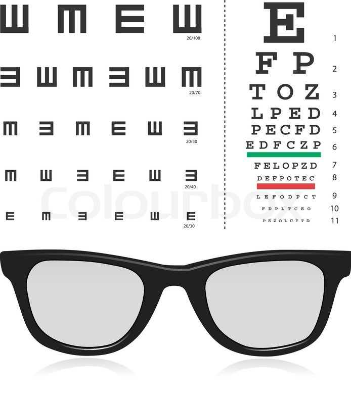 Vector Snellen Eye Test Chart With Glass Isolated On White
