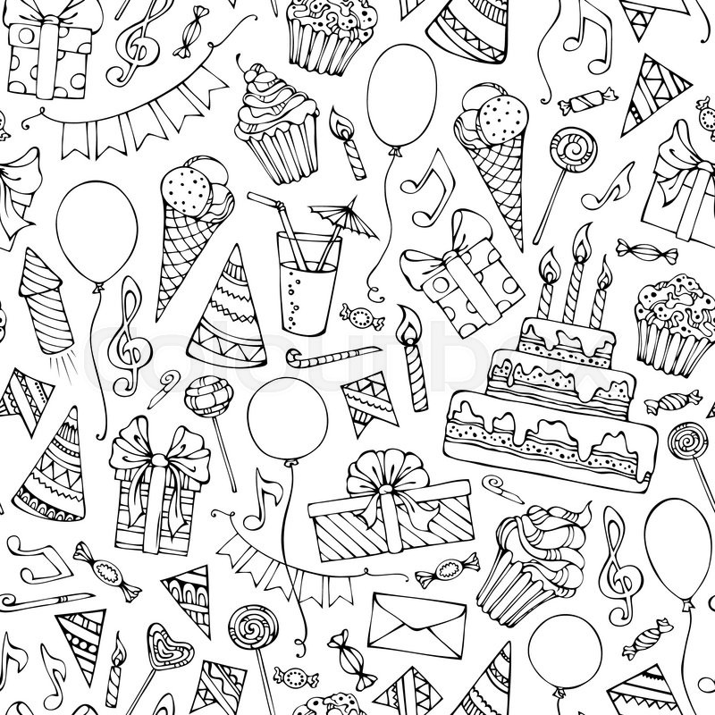 Doodles Birthday Objects On White Background Boundless Texture Can Be Used For Web Page Backgrounds Wallpapers Wrapping Papers Or Invitations