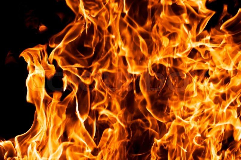 Fire Burning On Black Background Stock Image Colourbox