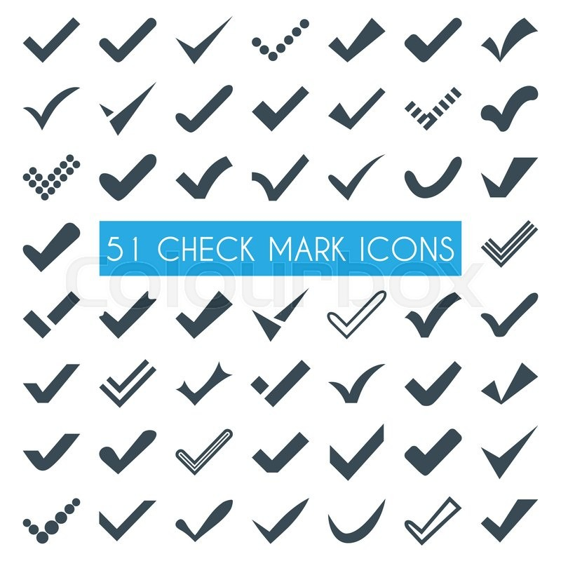 Set Of Different Check Marks Or Ticks Confirmation Acceptance