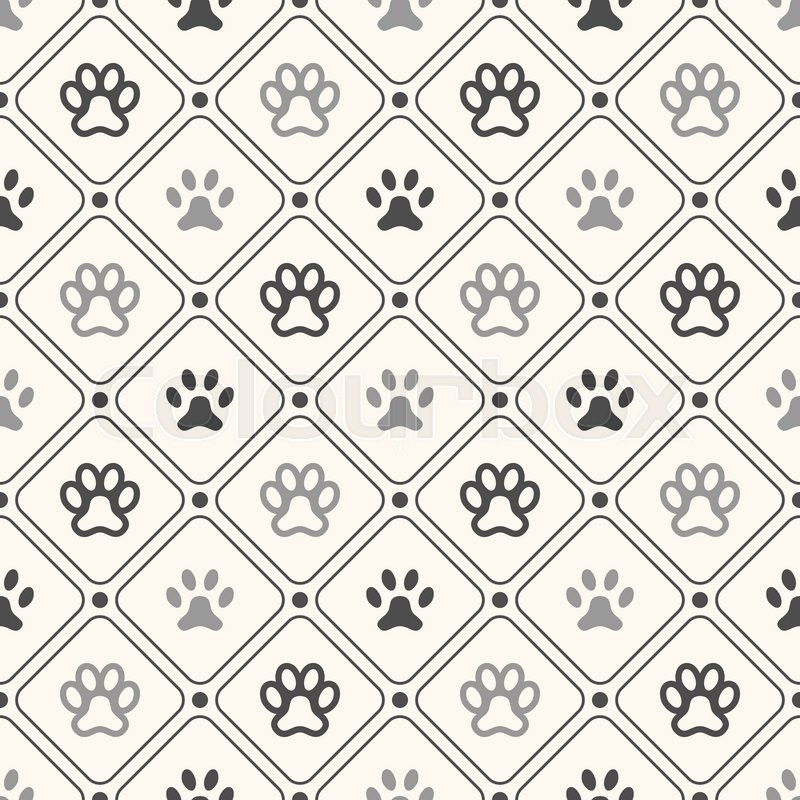 Seamless animal pattern of paw footprint in frame and polka dot ...