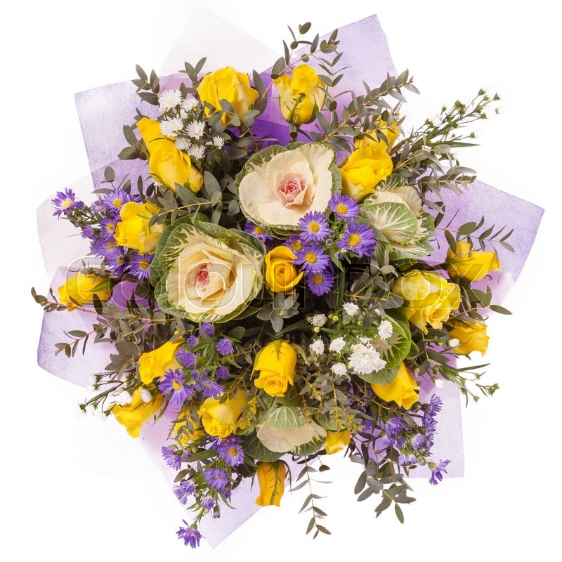 Bouquet Of Flowers Top View Isolated On ...