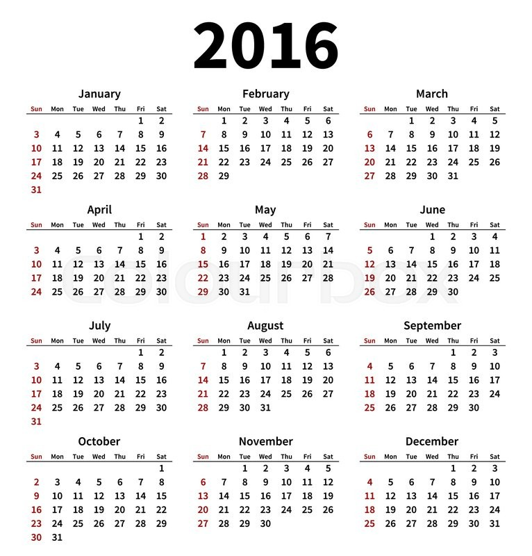 simple 2016 year calendar on white background vector illustration