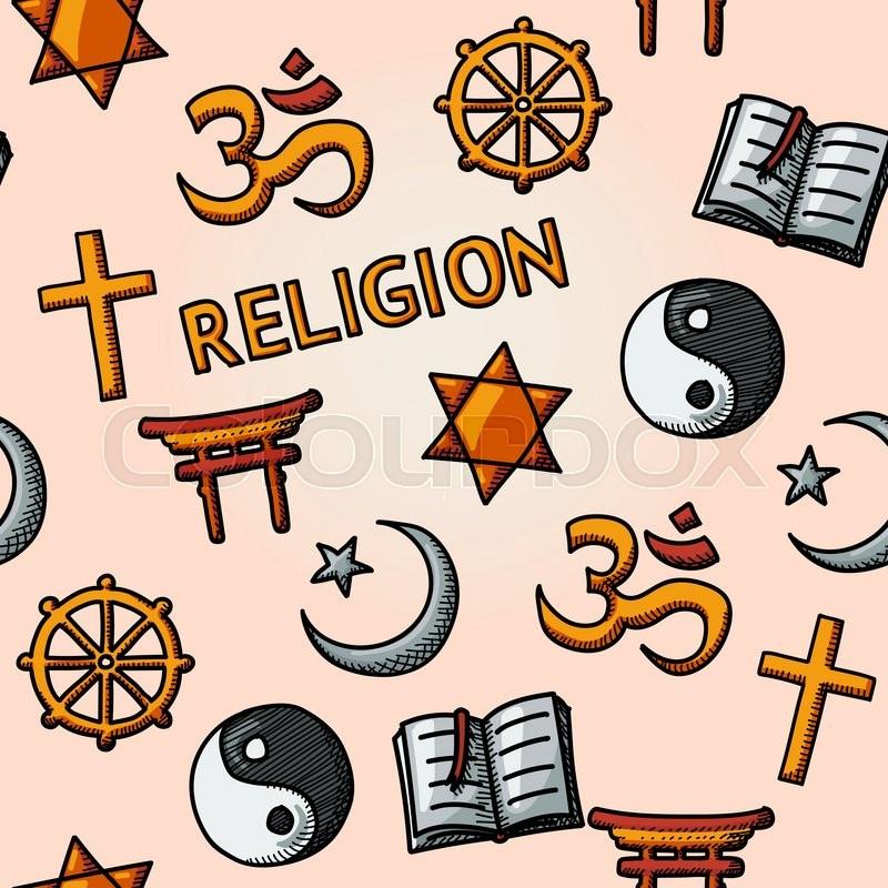 World Religion Hand Drawn Seamless Pattern With Christian Jewish