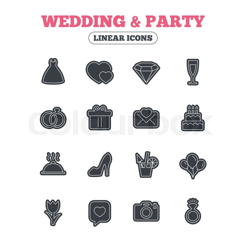 Wedding And Party Icons Dress Diamond Rings Gift Box Invitatiom Letter Rose Flower Speech Bubble With Heart Photo Camera
