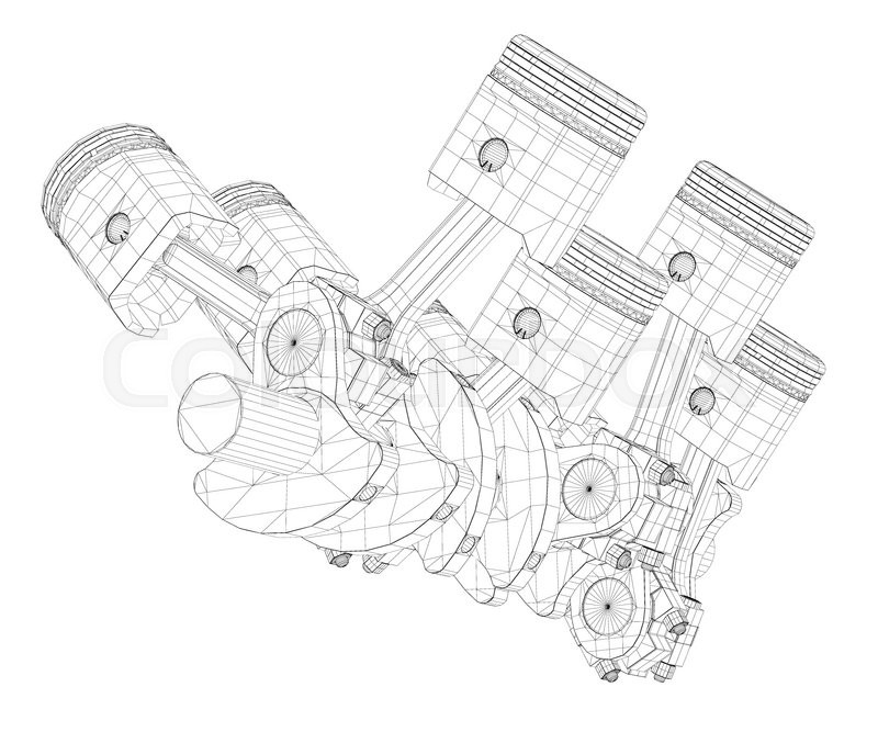 Pistons V8 Engine Body Structure