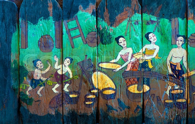 Traditional Thai style art stories of religion on wood boards, stock photo