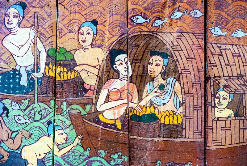 Traditional Thai style art stories and religion on wood boards, stock photo