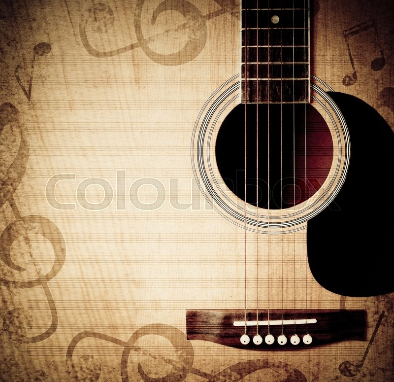 Musical square background with guitar and musical notes, stock photo