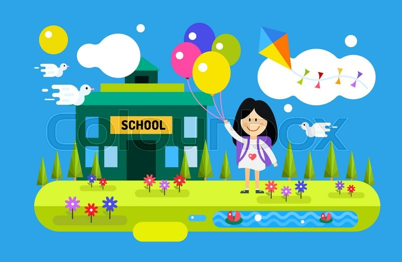 Back to school background cute vector cartoon happy girl for Wallpaper suppliers near me