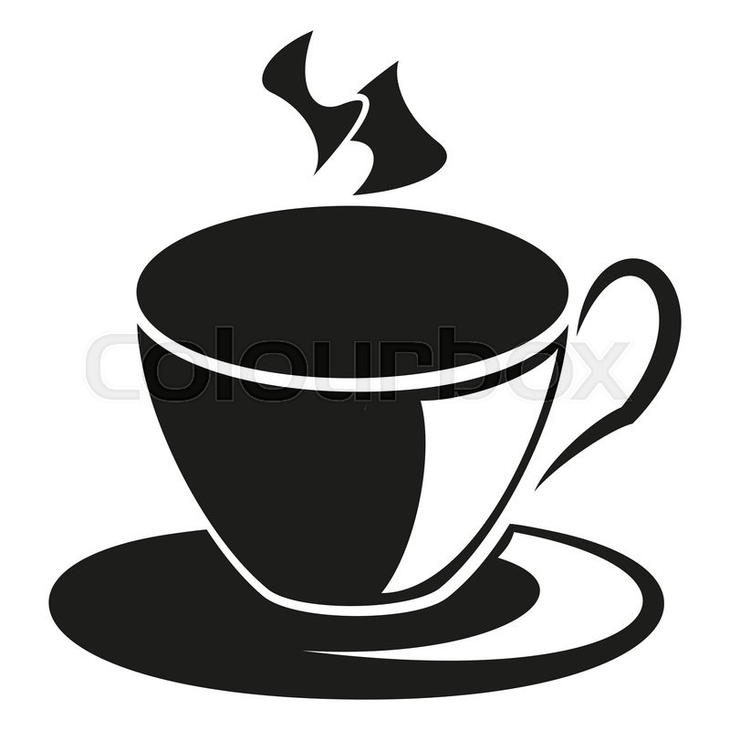 Cup Of Hot Coffee Silhouette Isolated On White