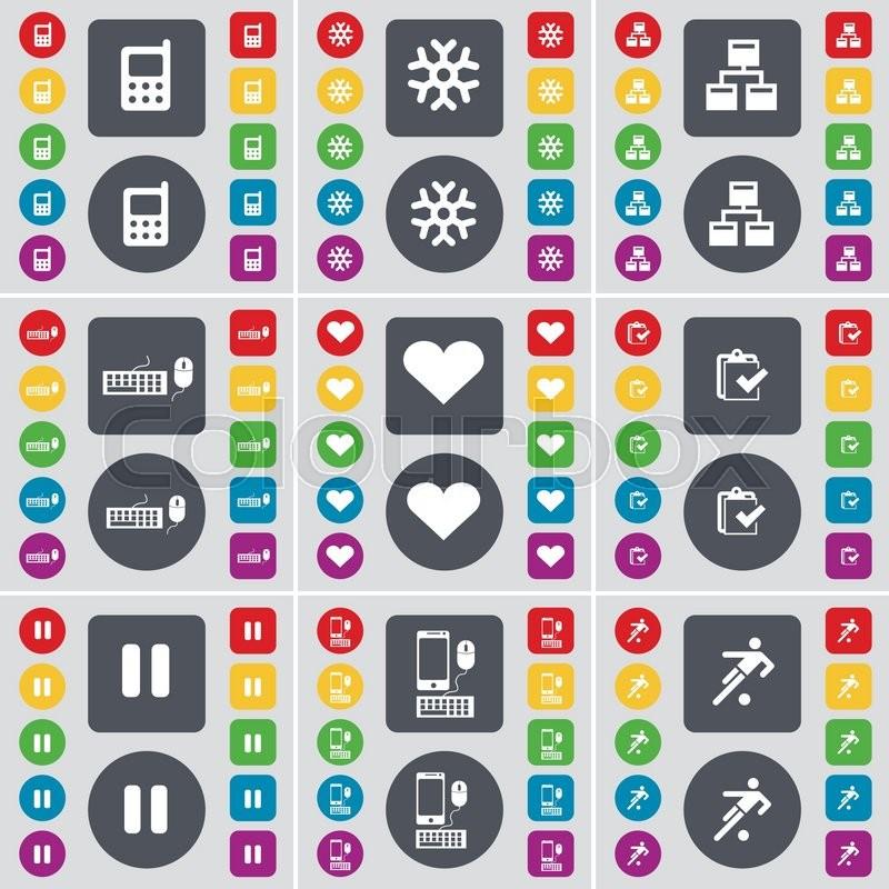 Mobile Phone Snowflake Network Keyboard Heart Survey Pause