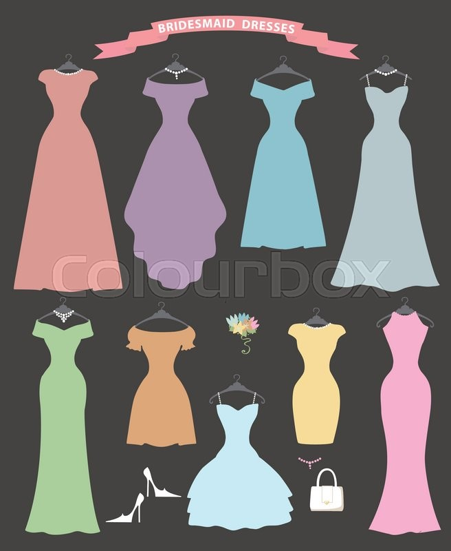 The composition of Different styles of wedding bridesmaid dresses in ...