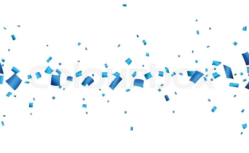 celebration banner with blue confetti vector background