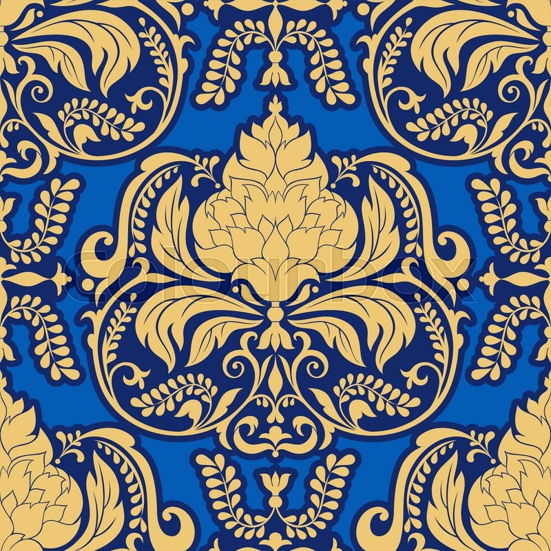 Vector Damask Pattern Design Royal Ornamental Background Rich Old Style Luxury Fashioned Seamless Vintage Wallpaper Floral Wrapping Paper