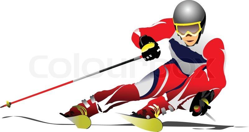 Farbige Vektor-Illustration der Skifahrer Bild ...