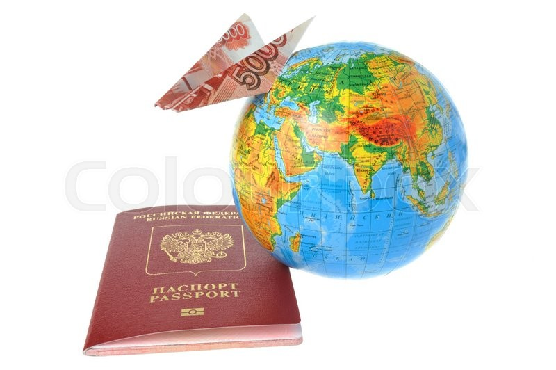 Russian International Passport Globe And Origami Plane