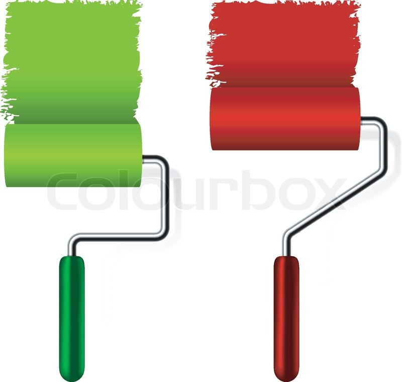 Paint roller brush with paint on white     | Stock vector