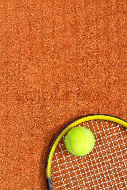 Sport background with a tennis racket and ball. Vertical image, stock photo