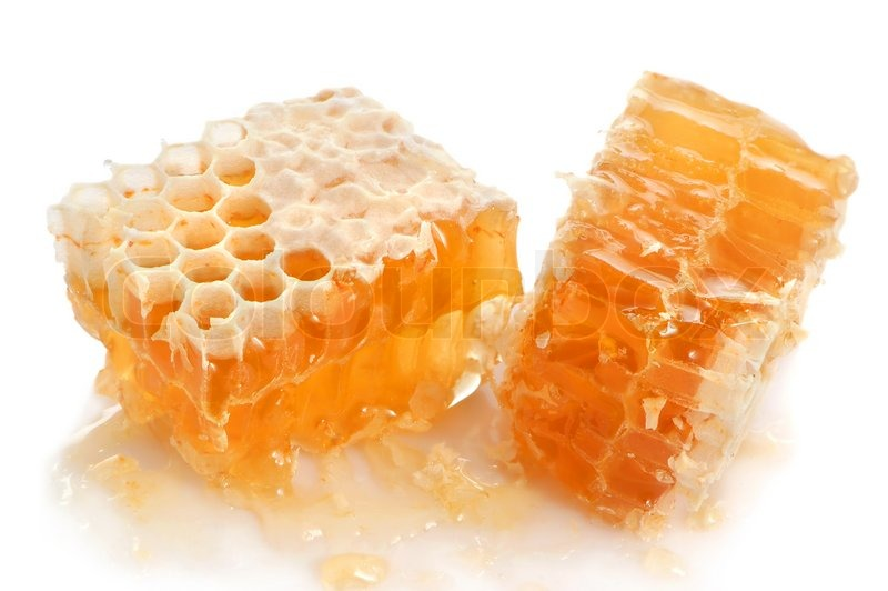 Yellow honeycomb slice on a white background | Stock Photo ...