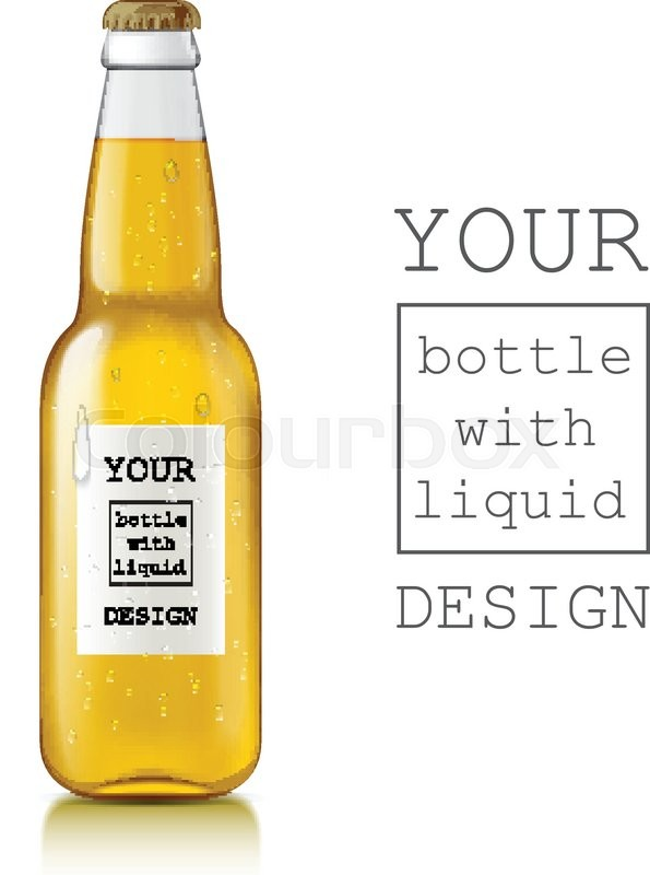 template of glass beer bottles realistic clear bottle with highlights and liquid beer juice. Black Bedroom Furniture Sets. Home Design Ideas