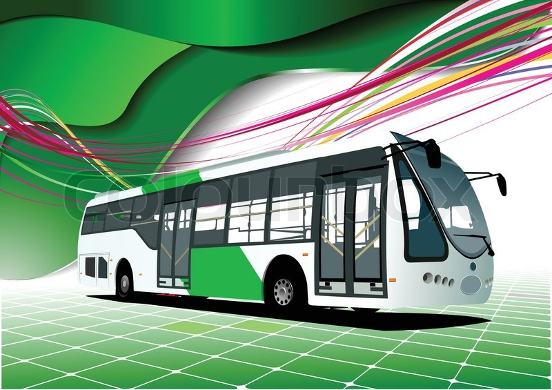 Abstract Green Background With Bus Images. Vector