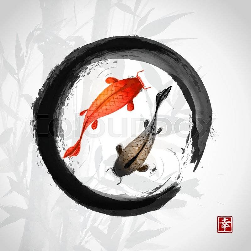 Black Enso Zen Circle With Red And ...