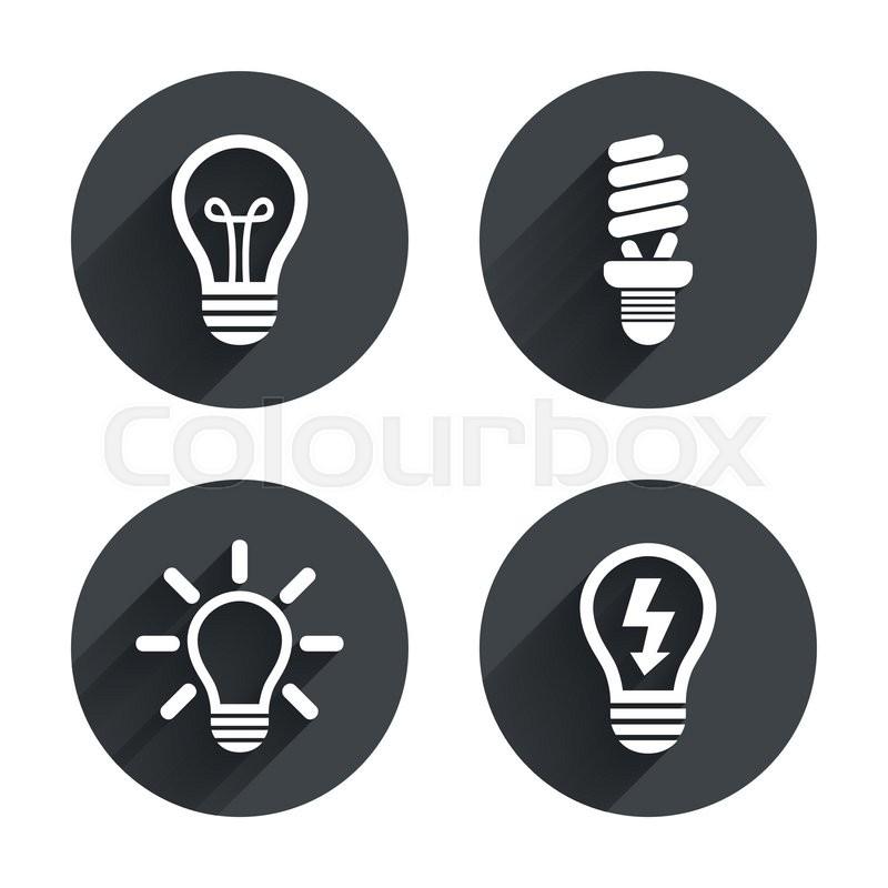Light lamp icons. Fluorescent lamp bulb symbols. Energy saving. Idea ...