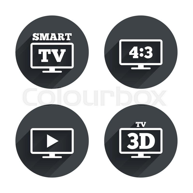 Smart Tv Mode Icon Aspect Ratio 43 Widescreen Symbol 3d