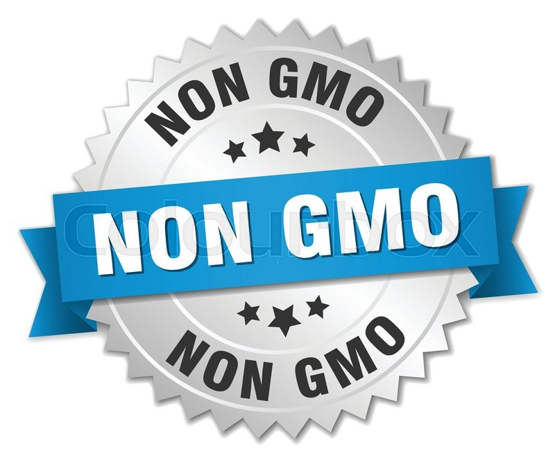 Non Gmo 3d Silver Badge With Blue Ribbon Stock Vector Colourbox