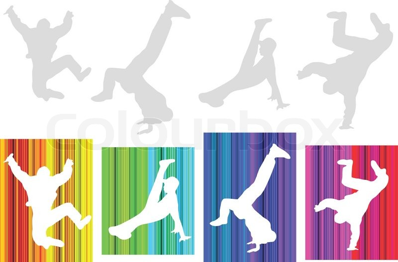 Silhouette Dance Music Abstract Background: Vector Hip-hop Silhouette On Abstract Background. No