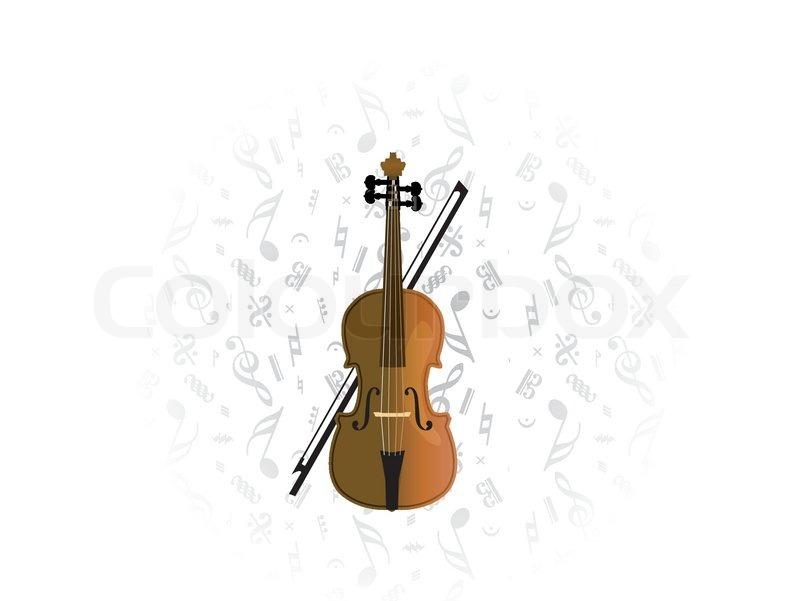 Cello Violoncello On Music Note Background