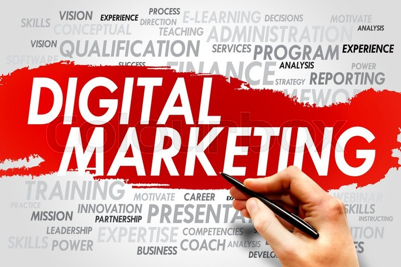 Digital Marketing word cloud, business concept, stock photo